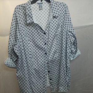 Crisp black and white button down shirt